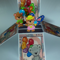 Girls 2nd birthday card with bears
