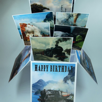 Mens Birthday Card With Steam Trains