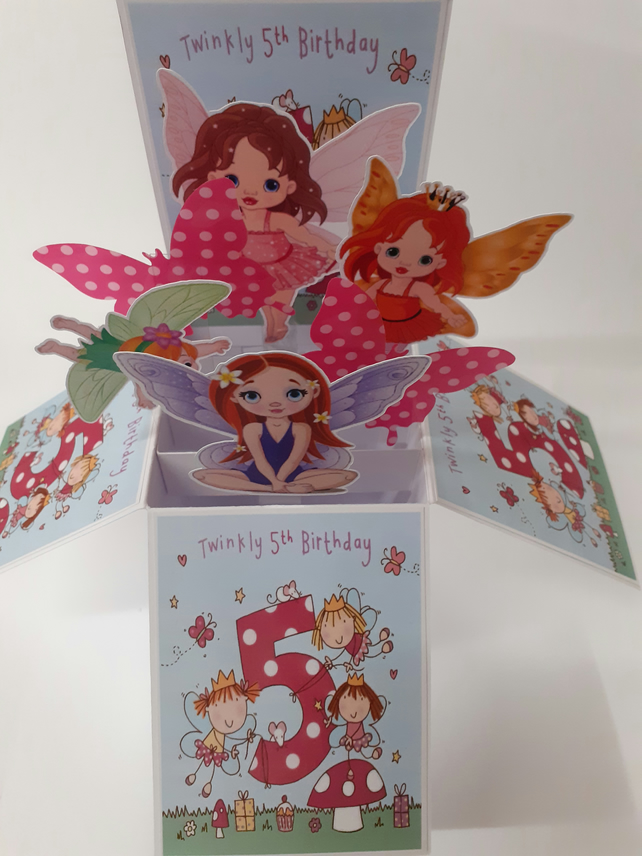 Girls 5th Birthday Card with Fairies