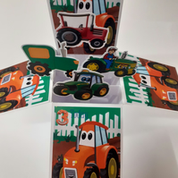 Boys 3rd Birthday Card with Tractors