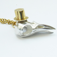 Silver Bird Skull with Top Hat