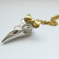 Sterling Silver Bird Skull with Bow