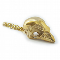 Gold Sparrow Skull Pendant and Chain