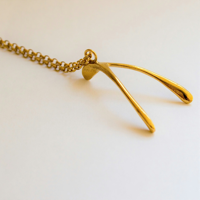 Vermeil, Gold Plated Wishbone, Large