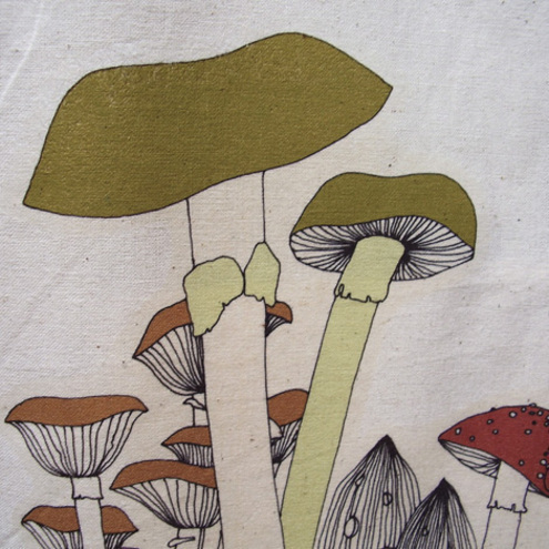 Toadstools cotton tote bag