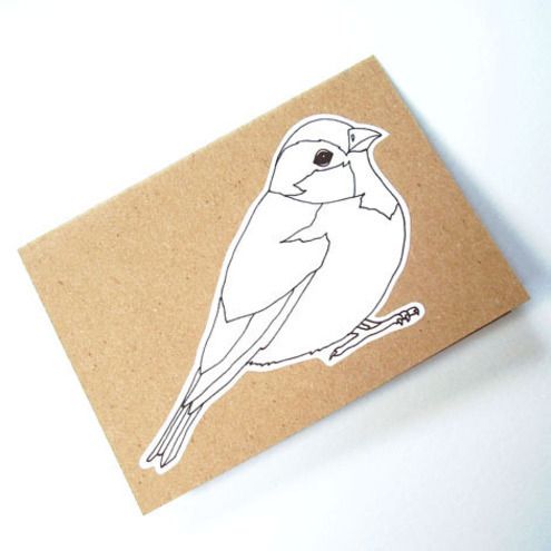 house sparrow colour me in card