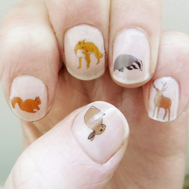 Animal Nail Art: Woodland Animal Nail Art Stickers