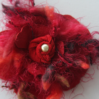 Red leather corsage flower, red brooch, quirky corsage, handmade to order Ruby62