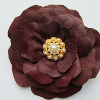 Leather flower corsage, brown flower corsage, leather brooch, brown hair clip
