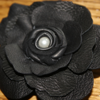 Black leather flower corsage, black corsage, black brooch, leather flower brooch