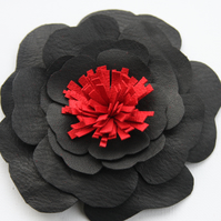 Black and red leather flower corsage, black corsage, black flower brooch, Ruby62