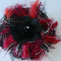 Quirky leather & wool corsage flower black red and white, diamante rose centre.