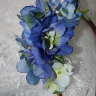 Blue floral fascinator with crystals, blue wedding flowers, bridal hair, Ruby62