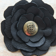 Black leather flower corsage, upcycled vintage brass button, made2order Ruby62