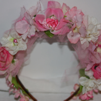 Pink flower fairy hairband, pink headband, pink wedding flowers Ruby62