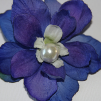 Blue flower hairclip, blue croc clip, Wedding flowers, girls party hair clip