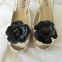 Black leather shoe flowers, shoe clips, pair of flowers for shoes handmade