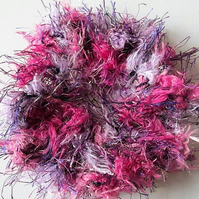 Purple scrunchie, purple & pink ponytail holder, fluffy scrunchie,scrunchy