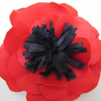 Red poppy corsage, red flower, red brooch, leather corsage, leather flower