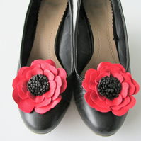 Red leather flower shoe clips, red & black leather flower, red poppy shoe clips