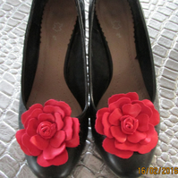 Red leather flower shoe clips, red roses, red shoe clips, pair of shoe flowers