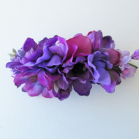 Purple Fascinator, Purple floral barrette, purple wedding bridal hair flowers