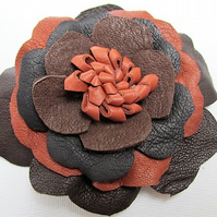 Leather flowers, brown leather corsage, corsage brooch, black leather flower pin