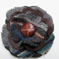 leather corsage, leather flower, leather brooch with vintage leather button