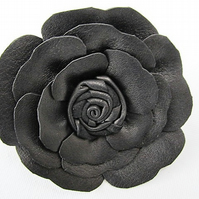 Leather flower corsage, black leather flowers, black corsage, black brooch