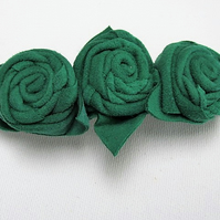 Leather Barrette,  green roses on barrette, green flower hair clip, hair slide.