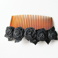 Black leather roses on hair comb, flower comb, comb for hair, hair flowers