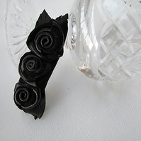 Black rose hair clip, leather flowers croc clip, black flower clip, rose clip