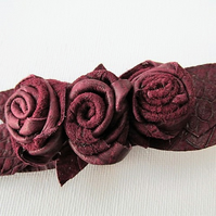 Burgundy leather roses on croc clip, wine hair clip, leather flower clip, Ruby62