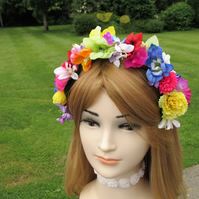 Rainbow hair band, multi coloured flower headband, festival headband, boho hair