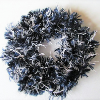 Scrunchie, black and white scrunchie, hair tie, ponytail holder, yarn scrunchie