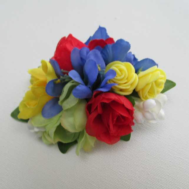 Bright colourful headpiece, festival hair clip, red,yellow,blue floral croc clip