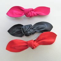 Leather knot hair clip, Leather bow, Red bow croc clip, pink bow, navy hair clip