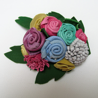 Leather brooch, flower corsage, real leather flowers, floral pin,anniversay gift