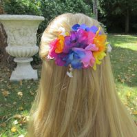 Rainbow headpiece, fascinator, wedding headpiece, bright floral barrette