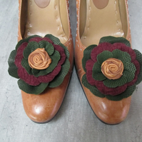 Leather shoe flowers, pair of shoe clips,