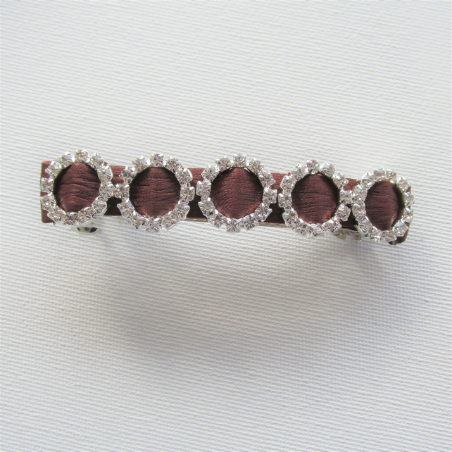 Hair barrette, leather barrette, brown leather hair slide with diamantes