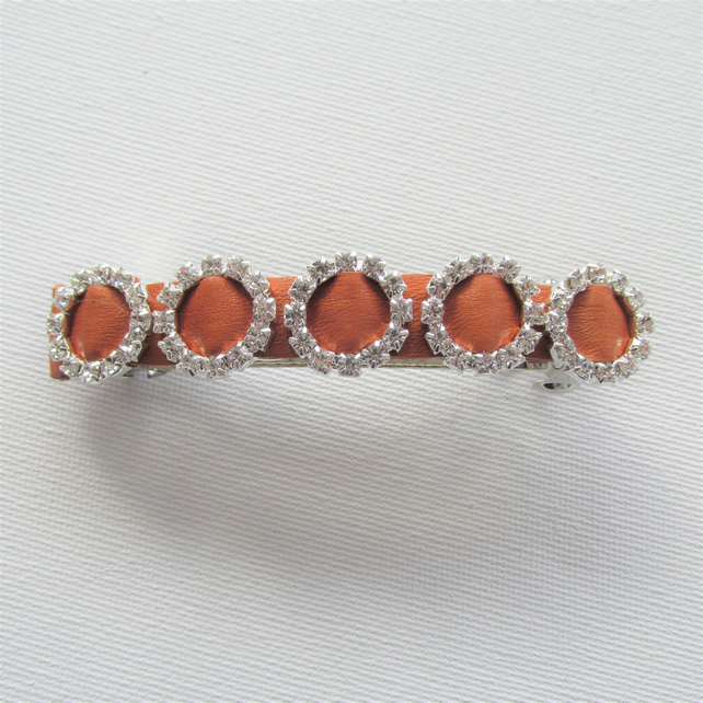 Tan leather hair barrette with sparkling circles of diamantes, hair clips