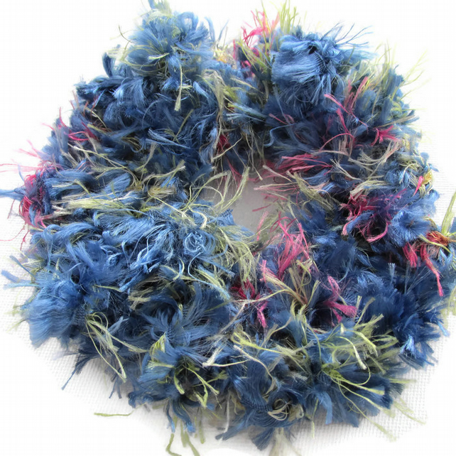 Blue scrunchie, hair scrunchies, crochet scrunchie, pom pom hair tie, fun hair