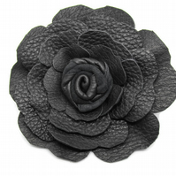 Black leather flower corsage, brooch pin, boutonniere, mens corsage
