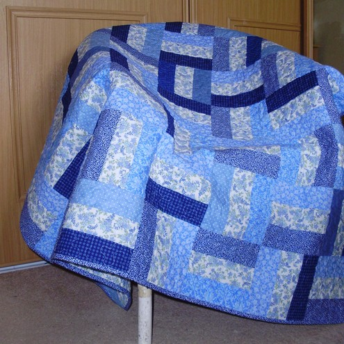 Blue Patchwork Throw Or Sofa Quilt Or Small Bed Folksy