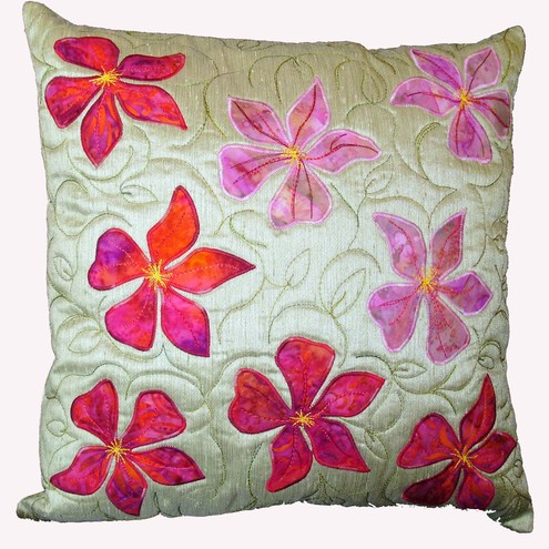 Appliqued cushion clematis flowers