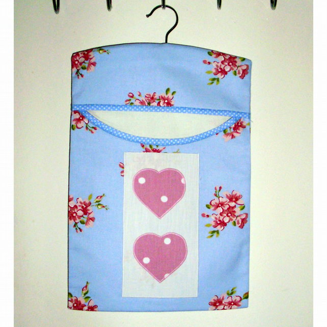 Peg bag blue floral with hearts SALE PRICE