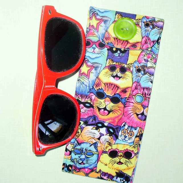 Sun Glasses case - Crazy cats