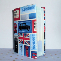Passport cover - London theme Union Jack Red bus