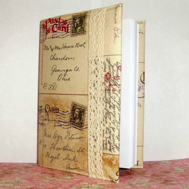 Covered notebook - Postcards and lace